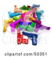 Royalty Free RF 3D Clipart Illustration Of A Stash Of Colorful Toy Guns Angle 1