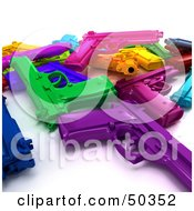 Royalty Free RF 3D Clipart Illustration Of A Stash Of Colorful Toy Guns Angle 3