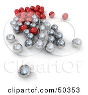 Group Of Red And Metal Marbles