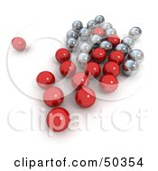 Group Of Red And Silver Marbles