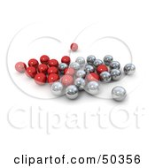 Mixture Of Red And Silver Marbles