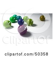 Scattered Group Of Colorful Marbles