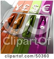 Royalty Free RF 3D Clipart Illustration Of Colorful Gas Pumps With Currency Symbols Version 1 by Frank Boston