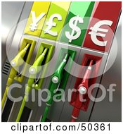 Royalty Free RF 3D Clipart Illustration Of Colorful Gas Pumps With Currency Symbols Version 4