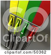 Royalty Free RF 3D Clipart Illustration Of A Gas Pump Station With Different Colored Nozzles Angle 8 by Frank Boston