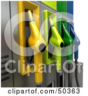 Royalty Free RF 3D Clipart Illustration Of A Gas Pump Station With Different Colored Nozzles Angle 5
