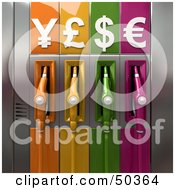 Royalty Free RF 3D Clipart Illustration Of Colorful Gas Pumps With Currency Symbols Version 5 by Frank Boston