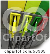 Royalty Free RF 3D Clipart Illustration Of A Gas Pump Station With Different Colored Nozzles Angle 1 by Frank Boston
