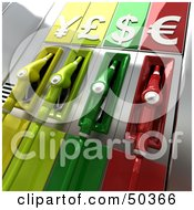 Royalty Free RF 3D Clipart Illustration Of Colorful Gas Pumps With Currency Symbols Version 3 by Frank Boston