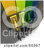 Royalty Free RF 3D Clipart Illustration Of A Gas Pump Station With Different Colored Nozzles Angle 2 by Frank Boston