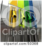Royalty Free RF 3D Clipart Illustration Of A Gas Pump Station With Different Colored Nozzles Angle 6 by Frank Boston