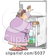Fat Woman Looking In The Fridge For Something To Eat Clipart