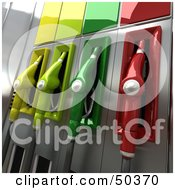 Royalty Free RF 3D Clipart Illustration Of A Gas Pump Station With Different Colored Nozzles Angle 3 by Frank Boston