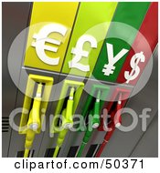 Royalty Free RF 3D Clipart Illustration Of Colorful Gas Pumps With Currency Symbols Version 6 by Frank Boston