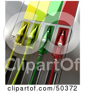 Royalty Free RF 3D Clipart Illustration Of A Gas Pump Station With Different Colored Nozzles Angle 4 by Frank Boston