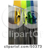 Royalty Free RF 3D Clipart Illustration Of A Gas Pump Station With Different Colored Nozzles Angle 9 by Frank Boston