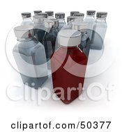 Clipart Illustration Of Red And Clear 3d Glass Bottles