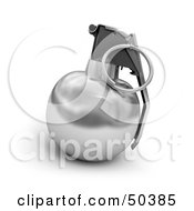 Royalty Free RF 3D Clipart Illustration Of A Silver Hand Grenade by Frank Boston