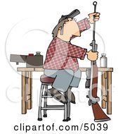 Man Cleaning Inside The Barrel Of His Unloaded Rifle Gun Clipart