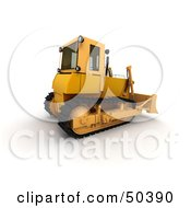 Royalty Free RF 3D Clipart Illustration Of A Rear Side View Of A Bulldozer by Frank Boston