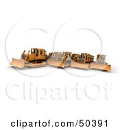 Royalty Free RF 3D Clipart Illustration Of A Crowd Of Bulldozers