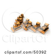 Royalty Free RF 3D Clipart Illustration Of A Group Of Bulldozers