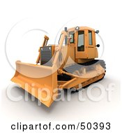 Royalty Free RF 3D Clipart Illustration Of A Frontal Side View Of A Bulldozer
