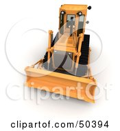 Royalty Free RF 3D Clipart Illustration Of A Front View Of A Bulldozer by Frank Boston