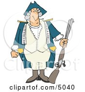 American Revolutionary War Soldier Holding A Loaded Rifle Clipart
