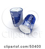 Royalty Free RF 3D Clipart Illustration Of Two Blue Solar Power Batteries