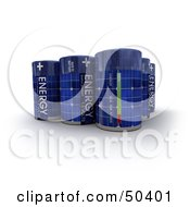 Royalty Free RF 3D Clipart Illustration Of A Group Of Upright Solar Batteries