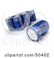 Royalty Free RF 3D Clipart Illustration Of A Blue Solar Power Battery On Its Side By Upright Batteries