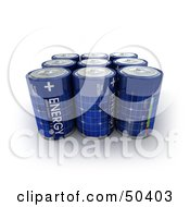 Royalty Free RF 3D Clipart Illustration Of A Group Of Blue Solar Power Batteries In Rows