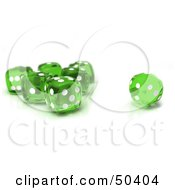 Royalty Free RF 3D Clipart Illustration Of A Group Of Transparent Green Dice