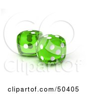 Royalty Free RF 3D Clipart Illustration Of Two Transparent Green Dice
