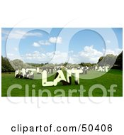 Royalty Free RF 3D Clipart Illustration Of LAIT Shaped Dairy Cows In A Pasture