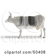 Royalty Free RF 3D Clipart Illustration Of A White Dairy Cow With A Barcode Pattern