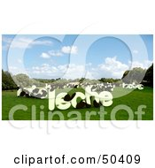 Royalty Free RF 3D Clipart Illustration Of LECHE Shaped Dairy Cows In A Pasture