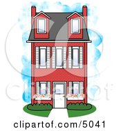 Large Three Story Red Brick House Clipart