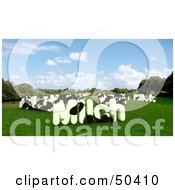 Royalty Free RF 3D Clipart Illustration Of MILCH Shaped Dairy Cows In A Pasture