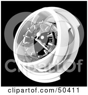 Royalty Free RF 3D Clipart Illustration Of A White Clock Mechanism On Black