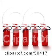 Clipart Illustration Of Red 3d Fire Extinguishers In A Row by Frank Boston
