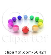 Royalty Free RF 3D Clipart Illustration Of A Circle Of Colorful Marbles by Frank Boston