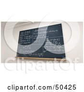 Royalty Free RF 3D Clipart Illustration Of A Chalkboard With Mathematic Solutions Written In Chalk