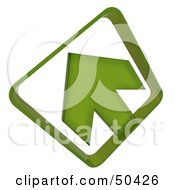 Royalty Free RF 3D Clipart Illustration Of A Green Arrow Pointing Upper Left by Frank Boston