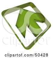 Royalty Free RF 3D Clipart Illustration Of A Green Arrow Pointing Up To The Left by Frank Boston