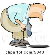 Man Looking Down An Uncovered Manhole Clipart