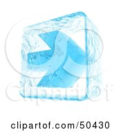 Royalty Free RF 3D Clipart Illustration Of A Blue Ice Arrow Pointing Right