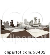 Royalty Free RF 3D Clipart Illustration Of A Board Chess Game In Play With A Pawn On Its Side