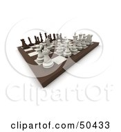 Royalty Free RF 3D Clipart Illustration Of A Board Chess Game In Play